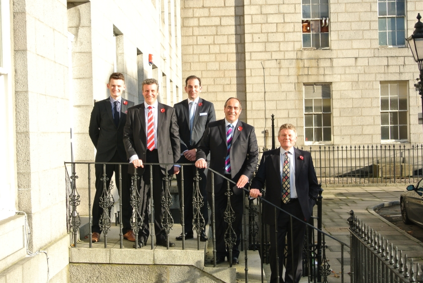 Pictured from left to right:  Ryan McKay (Partner, Blackadders), Gareth Masson (Partner, Adam Cochran), Lindsay Darroch (Partner, Blackadders) Johnston Clark (Managing Partner, Blackadders) and Peter Robertson (Senior Partner, Adam Cochran).